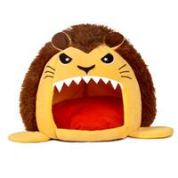 Animaux Huts, Mignon Lion ronde pour animal de compagnie, coton Lavable doux Chien Chat avec lit Mat