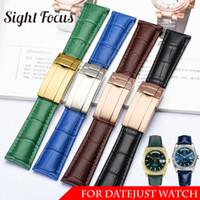 20 milímetros Calf Watch Band Strap Belt para Datejust Data Day couro genuíno couro Strap Pulseira de Pulso Homens Mulher Fecho dobrável