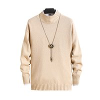 2020 fashion brand men's sweater casual half-high collar slim cotton knit high-quality men's sweater solid color pullover