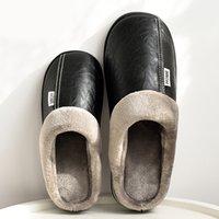 Pmoiste Frauen Winter Home Slippers Leder wasserdicht Nicht verrutschen Female Pantoffeln Male Plüsch für Frauen Indoor Warm