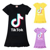 Tik Tok Elbise için Big Kız Giyim Yaz Çocuk Pamuk fırfır Casual Tunik Kid Ev Pijama Frock Vestido yazdır