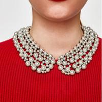 Chofers Multi-camadas Imitação Pérolas Grandes Collar Colar Colar Mulheres Luxo Cristal Acrílico Grande Bib Jóias Feminino