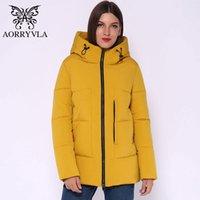 AORRYVLA 2020 Moda Kadın Kış Ceketler Kısa Sıcak Kapşonlu Aşağı Ceket kadın AO1936 için gündelik Katı Tatlı Ceketler