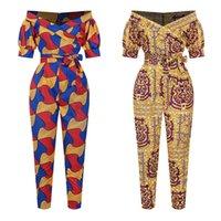 Kadınlar 2020 Moda Pantolon dashiki Baskı Omuz Kapalı Ankara Tulum Pantolon Robe Africaine Yenilik Giyim Afrika Elbiseler