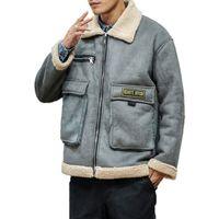 Plus Size Herren Jacke Winter warme Jacke Männer drehen unten Kragen-Mode Hip Hop Jacken Street Thick Lamb Mantel