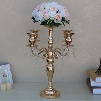 Parti Dekorasyon 58 cm Boylu Altın 5 Kol Şamdan Metal Mumluklar Düğün Centerpiece Çiçek Vazo Kase Şamdan