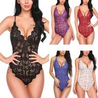 Donne Sexy Lingerie V Collo Sleepwear Daino Nightwear Ladies Lace Sling Pigiamas Backless Body Femmina See attraverso Sleepwear 050811
