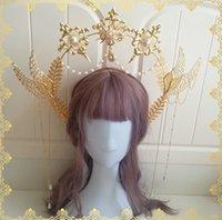 Lolita chá feitos à mão flor casamento virgem auréola cocar coroa de pérolas sol cadeia asas cadeia estilo retro exagero