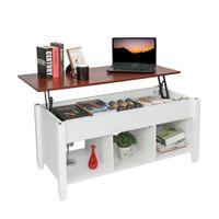 Waco Moderna Elevador Top Mesa de centro, mobília da sala de estar em casa, sotaque multifuncional Tabela de centry de armazenamento de madeira com compartimento oculto (branco)