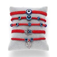 Bracelet Handwoven Bracelet chanceux Kabbale Ficelle rouge fil Hamsa Bracelets bleu charme mauvais oeil turc Bijoux Fatima amitié Bracelet