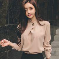 Женская Топы и блузки с длинным рукавом шифон блузка рубашка Мода женщин блузка офис рубашки Женщины Топы Blusas Одежда A518 200924