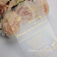 Grußkarten Klare Acrylfolie Einladungen Hochzeitseinladung Floral Set Luxus lädt Schreibwaren einzigartige Karte ein