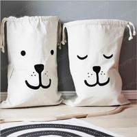 Grandes sacos Brinquedos Bebê de armazenamento Canvas Urso Lavanderia que pendura Drawstring Bag Household Bag Bolsa Início Organização de armazenamento