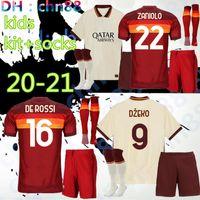 20 21 Rom hem bort barn kit + strumpor fotboll Totti Roma Dzeko Homw bort Sport de Rossi Jersey 2020 2021 El Shaarawy Nainggolan fotbollskjorta
