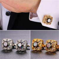 Mystic Cubic Zirconia Rhinestone Cuff Links for Men 18K Real Gold Platinum Plated Square Shirt Cufflinks