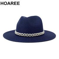 HOAREE Marinha Chapéu de Panamá elegante Pearl Beach Verão senhoras Trilby larga aba do chapéu de palha chapéus de sol para as mulheres Jazz Fedora