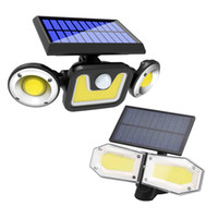 LED Solar Lamps Wall Light Rotatable 3 Modes PIR Motion Double Head Path Garden Outdoor Lighting In Stock