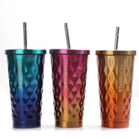Moda Starbucks Cup com Straw e aço inoxidável Lip Tumbler parede Canecas Duplo isolados a vácuo Cup Água Bottlle 500ML
