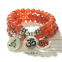 MG0980 A Grade Carnelian Beaded Yoga Bracelet Natural Gemstone Handmade Bracelet for Women Meditation Mala Bracelet