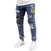 Erkekler Jeans İlkbahar Yaz Sonbahar Erkek Kişiselleştirilmiş Rozet Dekorasyon Orta Bel Elastik İnce Uzun Pantolon Streetwear Ripped