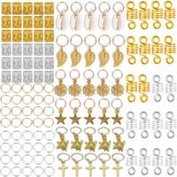 Африканского Dreadlocks ювелирных изделий Braid украшение Shell Star Cross Leaf Charm аксессуары для волос кольца трубы Манжеты Dreadlocks Dread шарики 120PCS / Set