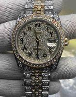Custom Feito Homens Moda Relógios Árabe Digital Escala Relógio Diamante Diamante Relógio Full Diamond Strap Assista Relógio Mecânico Automático