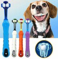 Chien doux Brosse à dents pour animaux de chat à trois côtés en caoutchouc Brosse à dents mauvaise haleine outil dents Se brosser les dents soins KKA8012