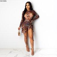 CM.YAYA Ästhetische Print Sexy Frauen-Partei-Kleider Stacked Langarm-Bügel Kordelzug mit Rüschen besetzten Clubwear Bodycon Rüschen Minikleid