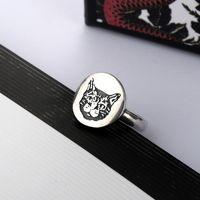 Letra bonito Cat Ring para mulher Top Quality Prata Banhado Anel Personalidade Charm Anel Moda Jóias Fornecimento