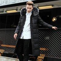 Męskie Down Parkas Zima Mężczyzna Long Coat Kurtka Ciepła wiatrówka Parka Fur Collar Hoody Padded Płaszcz Plus Rozmiar 6XL Mężczyzna Oversize
