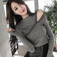 shintimes Carta Apliques Hombro alto suéter elástico sweters Mujeres Invierno 2020 de Corea del estilo de las mujeres suéter Tire Femme