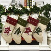 Christmas Stocking Party Hanging Socks Christmas Tree Ornament Decor Linen Hosiery Xmas Socks Kdis Gift Candy Bag OOA8414