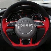 Yeni DIY Dikiş-on Audi A1 A3 A5, A7 Kırmızı Deri Siyah Süet Direksiyon Kapak Tam Fit