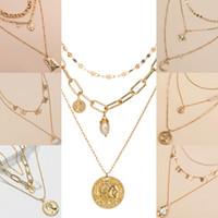 Retrato colgante collar de perlas personalizada de la mariposa de Bohemia Oro collares para las mujeres de múltiples capas de oro Gargantillas nueva joyería