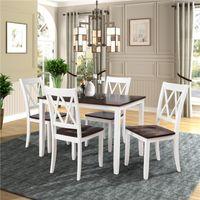 米国在庫クラシック5ピースダイニングテーブルセットホームキッチンテーブルと椅子ウッドダイニングセット(ホワイト+チェリー)US倉庫SH000088AAK