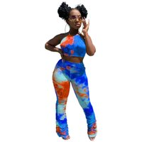 Frauen Tie Dye Kleidung Sets Sexy Bandage Blackless Crop Top hohe Taillen-Stacked Hosen Famale Street Wear