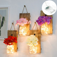 Luzes da noite mason jarro falso flor conduziu luz de corda rústica garrafa com controlador para parede decoração home fada guirlanda dhl