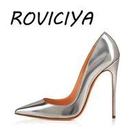 Silber Pumps Spitzschuh High Heels 12 cm Frauen-Schuhe Prom Hochzeit Schuhe Marke Designer Stiletto Shallow Gold-YG018 ROVICIYA