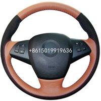 Brown couro preto Suede de direcção do carro Covers de roda para BMW E70 X5 2008-2013 Covers auto direcção