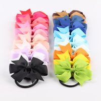 10Pcs Lot Bow Bands Tools 20 Colors Elastic Rubber Band Ties Rings Ropes Gum Grosgrain Ribbon Holders Hair Accessories