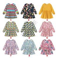 أطفال الربيع طفلة اللباس العصرية بنات فساتين الأميرة كم لطيف لونغ قطعة واحدة اللباس فلورا الشريط مطبوعة الملابس 90-130cm D82005