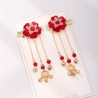 Другие Getnoivas старинные китайский шаг встряхнуть красный цветок головы волос клипы длинные кисточки подвесной булавка невеста свадьба головной убор