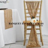 25 50 100pcs Sequin Stuhl Cap Hood Chiavari Stuhl-Abdeckung für Bankett Unsere Tür Hochzeit Eventdekoration