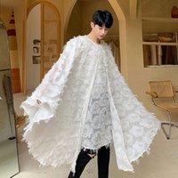 Gli uomini di grande misura Bat manica lunga Pullover Casual Camicia maschile Vestito gotico donne dello scialle Mantello fase Sfilata di moda Abbigliamento