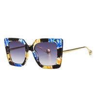 Óculos de sol de gato New Trendy Ins Fashion Designer de Luxo Pérola Óculos de Pérola para Mulheres Meninas Estudantes UV400 Prova Flora Impresso