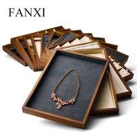 Bandeja Organizador Fanxi nueva joyería de madera maciza Pantalla Bandeja crema-blanco gris oscuro collar de la pulsera del anillo de la joyería del soporte de exhibición MX200810