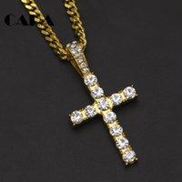 Hip Hop Gold Argento Iced Out Bling Cross Pendant Catene per gioielli da uomo con collana in acciaio inox cubano collegamento a catena di torsione