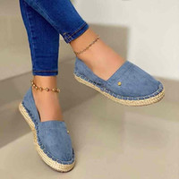 2020 New Women Loafers Fisherman Shoes Straw Slip on Flat Shoes Female Lazy Comfortable Ladies Plus Size Black 8415G