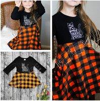ملابس أطفال مصمم هالوين كم طويل البلوز سترة العصرية منقوشة تنورة الزي الخريف الشتاء فتاة البلوز قطعة واحدة اللباس D81205