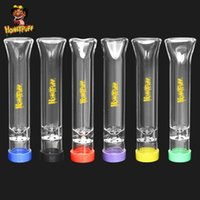 Honeypuff Glass 다채로운 뚜껑 70 * 8 mm 휴대용 미니 유리 흡연 담배 파이프 라운드 팁 담배 파이프 흡연 액세서리